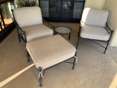 "Woodard ""Hacienda"" Patio Chairs, Ottoman and Table--SOLD"