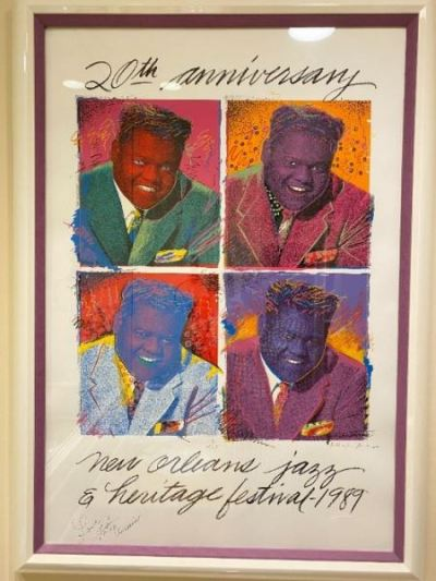 New Orleans Jazz Festival Print Signed~ Fats Domino
