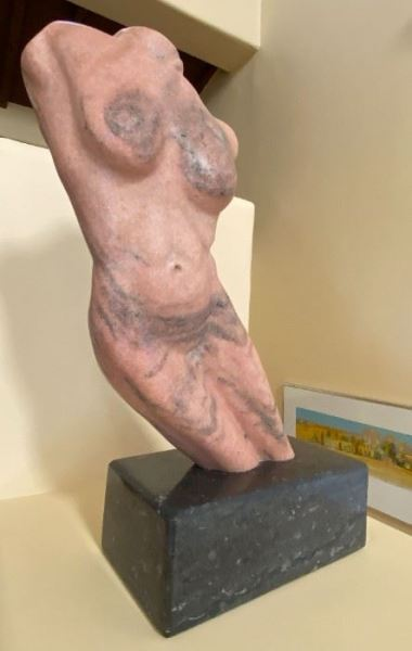 """Sculpture """"Pink Torso"""" by Tim Rider, Pink Marble Dimensions: 22"""" h  x 18"""" w -SOLD"""