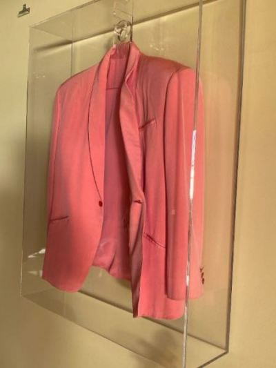 Pink jacket worn by Rod Stewart, autographed--SOLD