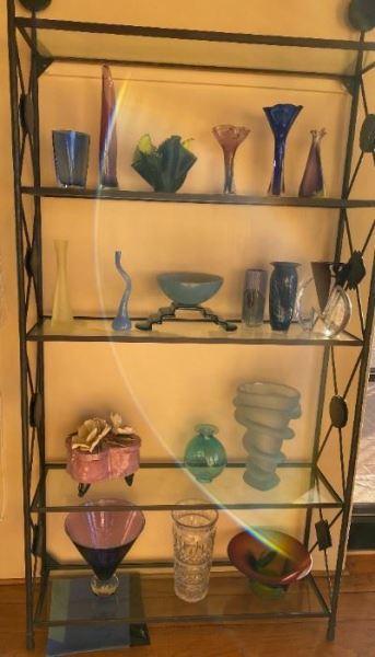 Glass and iron shelf unit