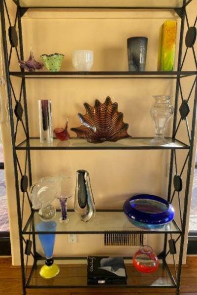 glass and iron shelf unit and art glass