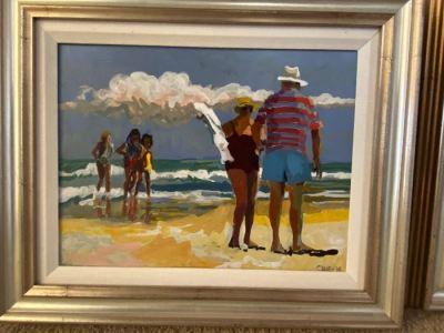 Joseph Cave original beach scene painting, oil on canvas--SOLD