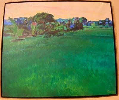 "Richard Fennell, dark green landscape, oil on canvas, 40"" x 48""--SOLD"