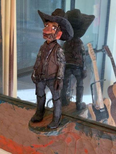 Artisan carved wood Cowboy Mirror--SOLD