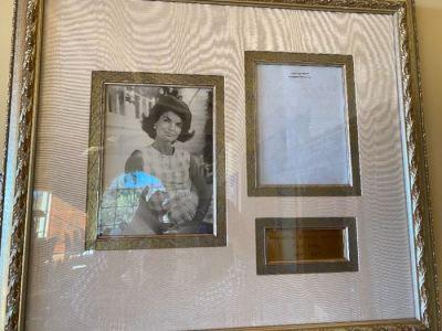 Jackie Kennedy framed memorabilia - SOLD