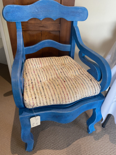 Carved Wood Blue Painted Chair--SOLD