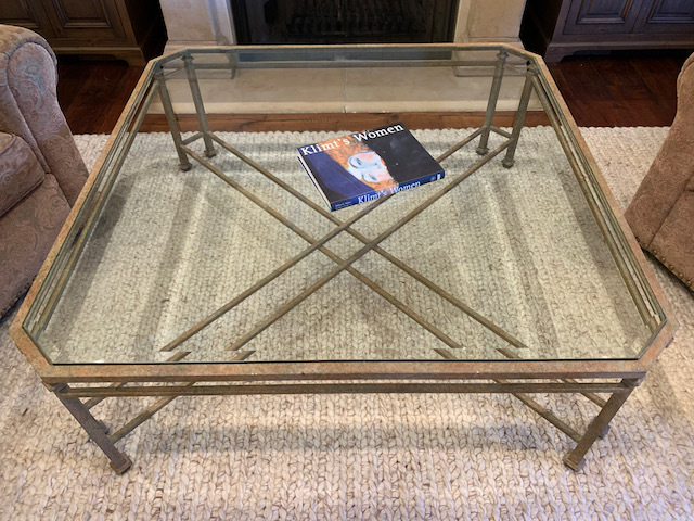 Large Glass and Metal Coffee Table