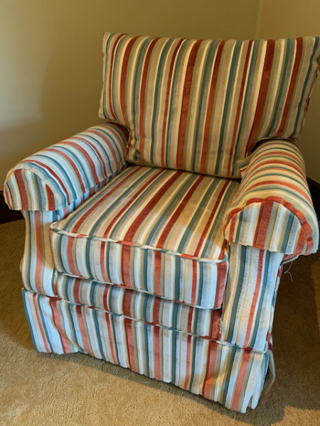 Plush Striped Rocking/Swivel Chair