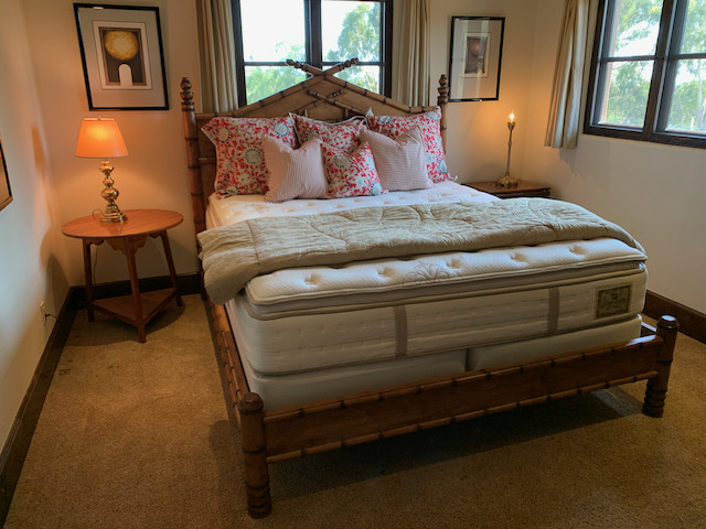 Wood Faux Bamboo Cal King Bedframe with Mattress Set