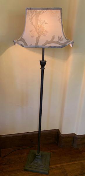 Metal Floor Lamp with Silk Shade