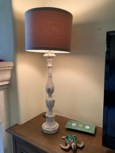 White Wood Lamp with Shade (pr)