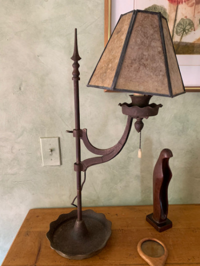 Antique Lamp with Mica Shade