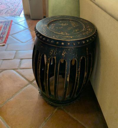 Black Open Frame Wood Drum Table
