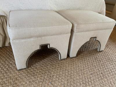 Pr. White Upholstered Footstools