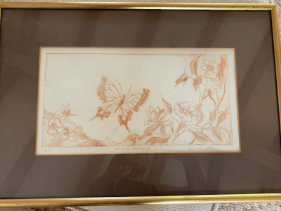 """Framed """"Butterfly"""" Etching"""