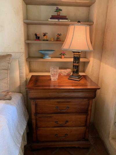 Custom Walnut Nightstand ~ Chinoiserie Lamp (pair)