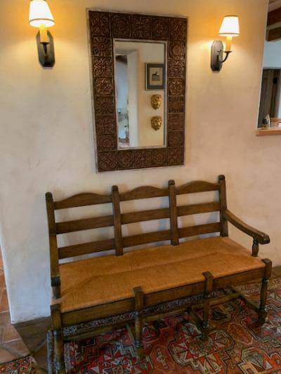 Antique Rush Seat Settee