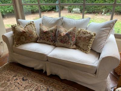 Slipcovered Sofa ~ Tapestry Pillows