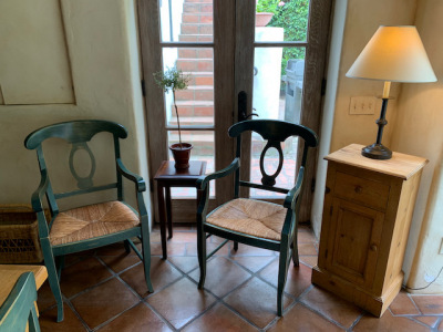 Pine Side Table (2) ~ Rush Seat Dining Chairs