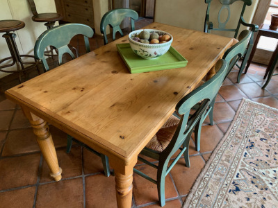 Pine Dining Table ~ 6 Dining Chairs