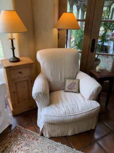 Slipcovered Comfy Chair ~ Pine Side Table