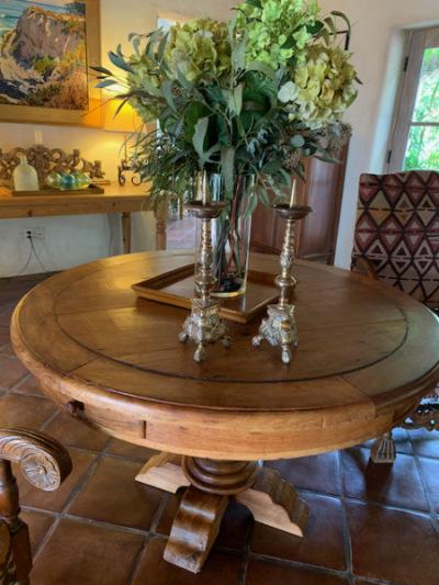 Round Antique Table ~Antique Prickett Brass Candlesticks