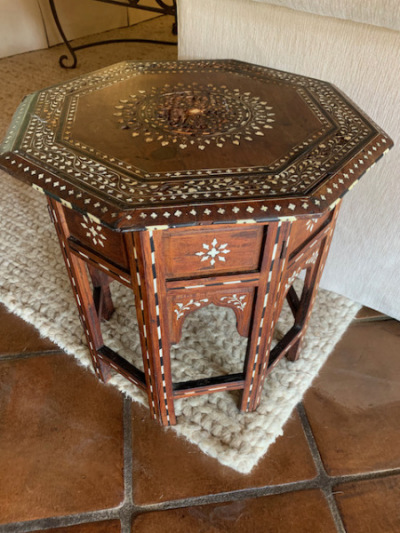 Antique Moroccan Inlaid Side Table