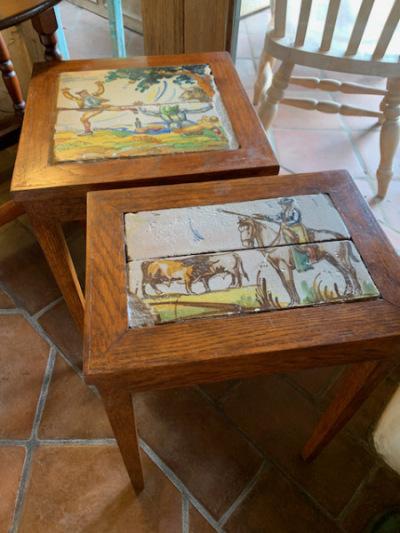 Pr. Antique Inlaid Tile Cocktail Tables