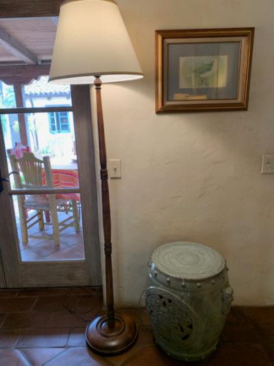 Turned Wood Floor Lamp ~Celadon Ceramic Garden Stool