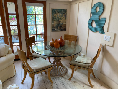 Iron and Glass Pedestal Table - 4 Chairs