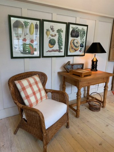 Antique Pine Fliptop Table ~ Wicker Armchair