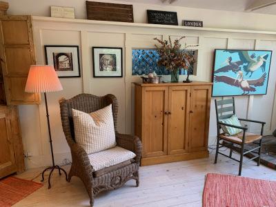 Antique Pine Cabinet ~ Wicker Chair