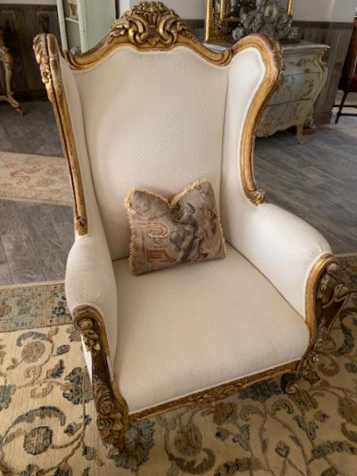 Gilt Frame Upholstered Wing Chair (pr)