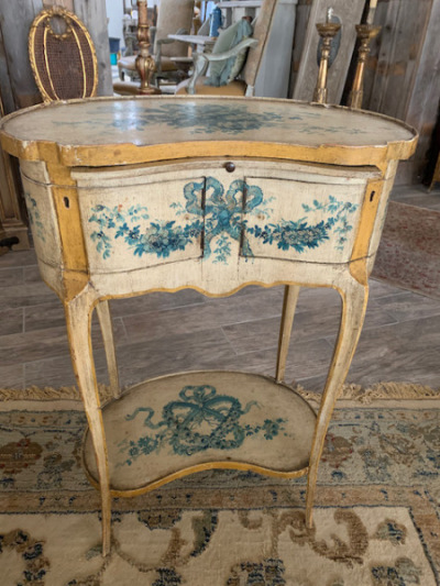 Petite French Painted Occasional Table