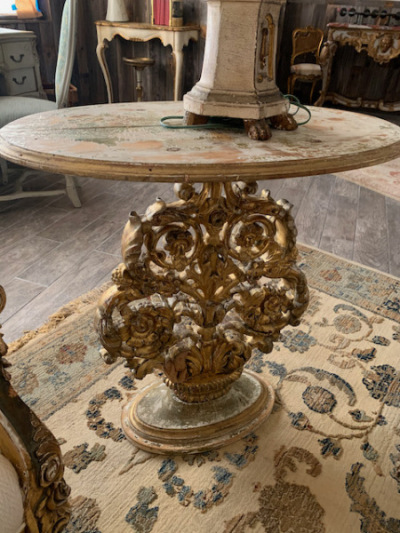 Caved Gilt Base Side Table