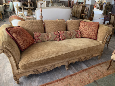 Gold Upholstered Sofa with Rolled Arms