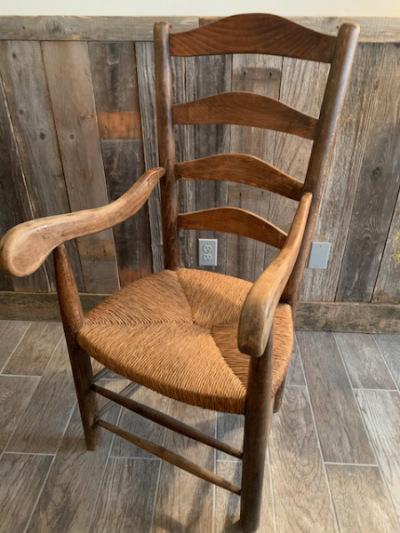 Pr. Rush Seat Arm Chairs