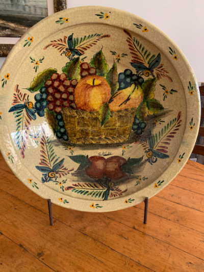 """Painted Bowl on Stand signed """"Casal"""""""