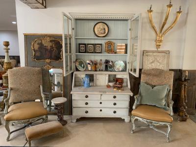 Painted Pale Blue Secretary Cabinet