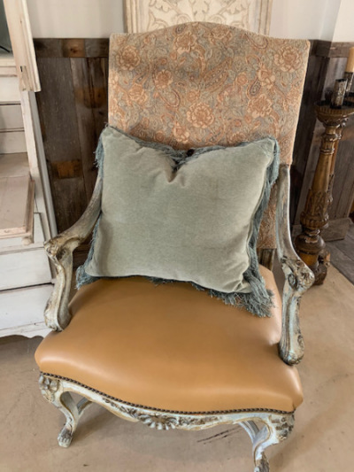 Pr. Arm Chairs Upholstered Backs with Leather Seats