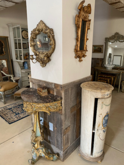 Pr. Tall Round Painted Cabinets