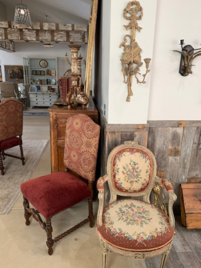 Needlepoint Upholstered Chairs (pr)