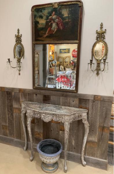 Crackle Finish Console Table ~ Trumeau Mirror