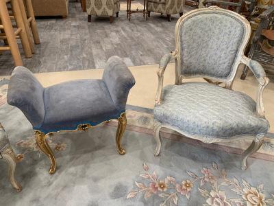 Bergere Chair (pr) ~ Blue Velvet Bench Seat