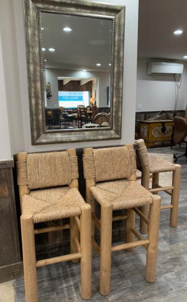Rush and Wood Bar Chairs (3)