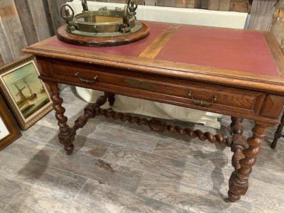 Leather Top Desk with Barley Twist Legs