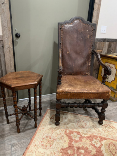 Leather Studded Arm Chair from the Remington Steele Estate