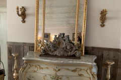 Painted Bombay Chest with Marble Top ~ Tall Gilt Mirror