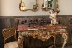 Carved Gilt Rocco Console Table with Carrera Marble Top
